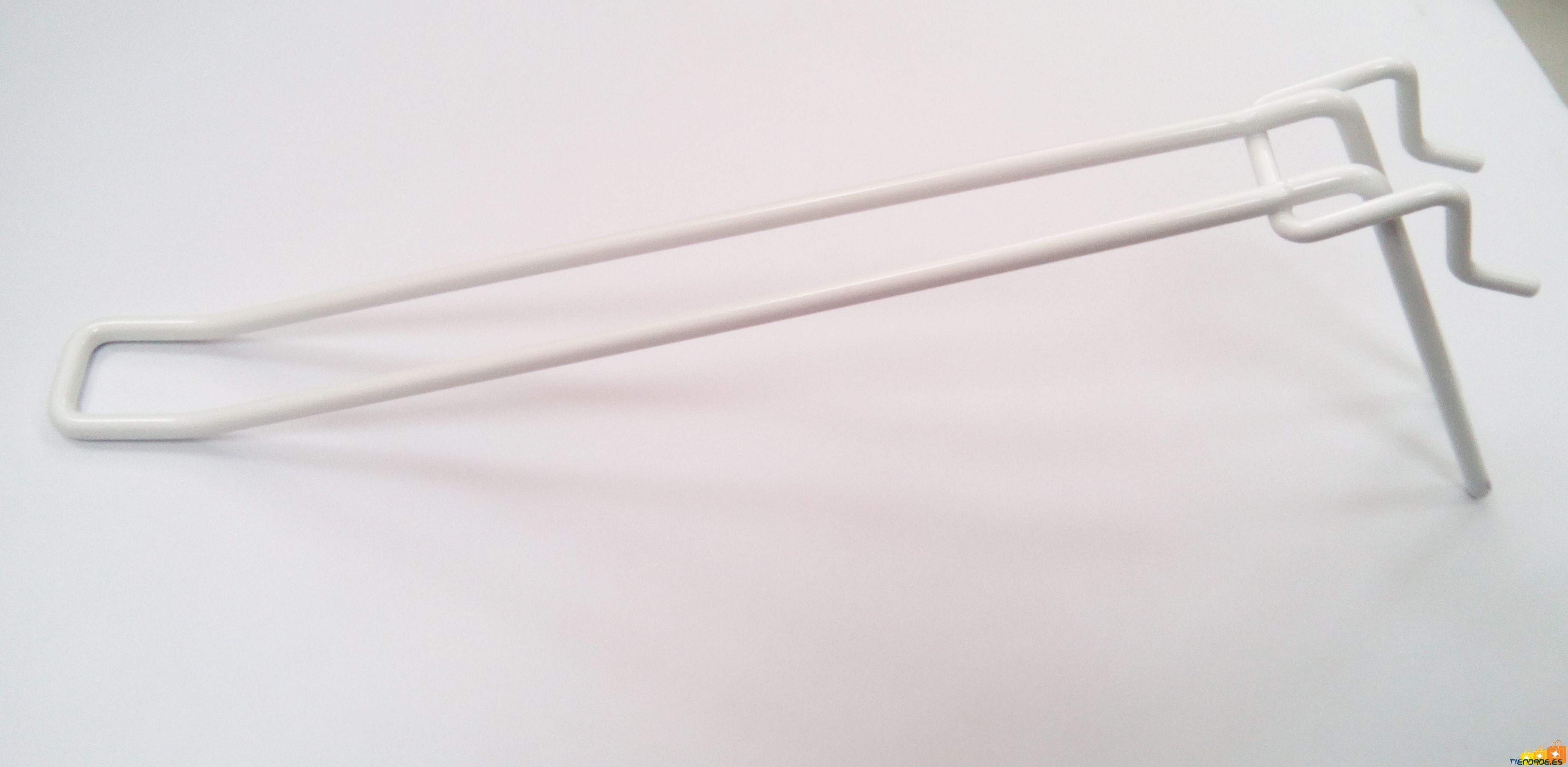 Pack 10 ganchos para expositor color blanco 250 mm
