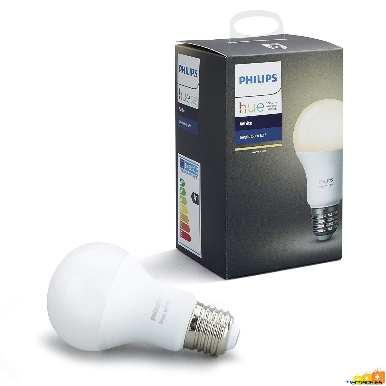 Bombilla inteligente Philips Hue White LED E27 9,5 W, luz blanca cálida regulable