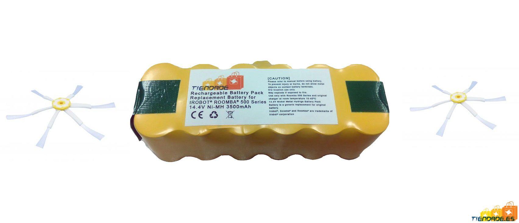 Pack Roomba serie 500, 600 y 700: Batería 3500 mAh + 2 cepillos laterales de 6 aspas