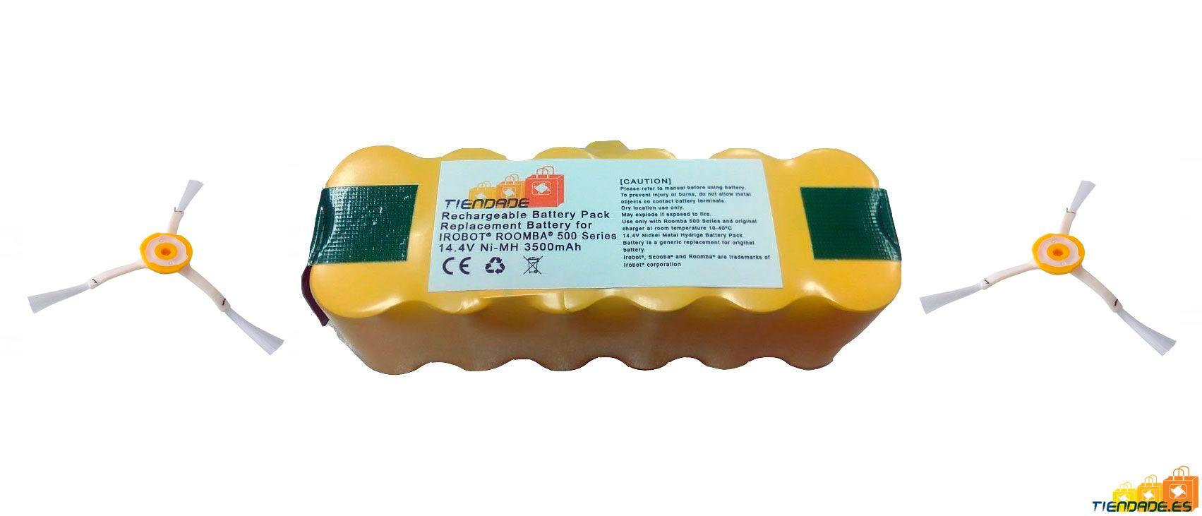 Pack Roomba serie 800 y 900: Batería 3500 mAh + 2 cepillos laterales de 3 aspas