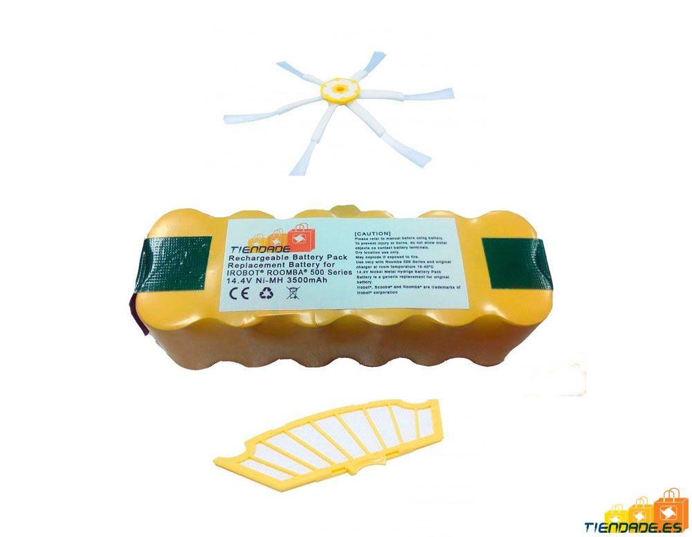 Pack Roomba serie 500: Batería 3500 mAh + Filtro + Cepillo lateral 6 aspas