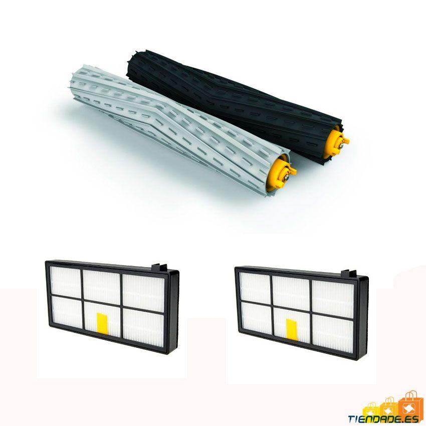 Pack Roomba serie 800-900: 2 filtros Hepa + kit de cepillos centrales